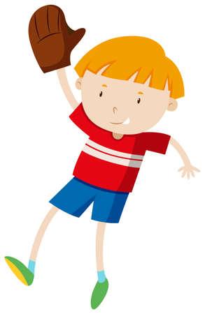 guante de beisbol: El ni�o peque�o con la ilustraci�n del guante de b�isbol Vectores