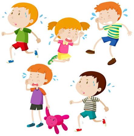 niños tristes: Muchachos tristes e ilustración niña llorando