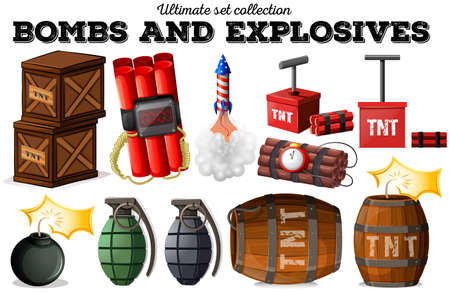barrel bomb: Bombs and explosive objects illustration Illustration