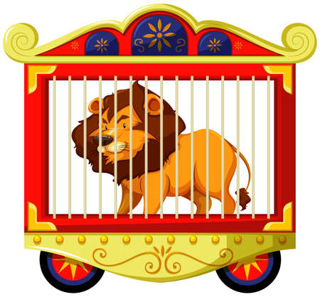 carnivorous animals: Lion in carnival cage illustration