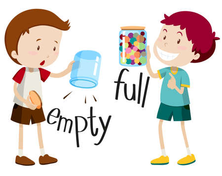adjective: Boy with empty jar and boy with full jar illustration