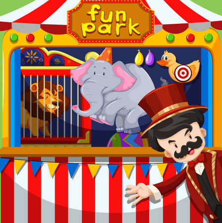mc: MC and animal show at the circus illustration