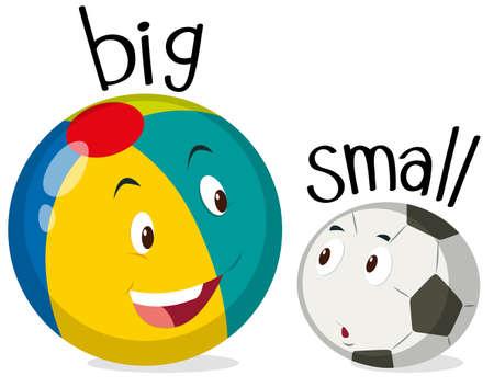 Twee ballen uit één grote en één kleine illustratie