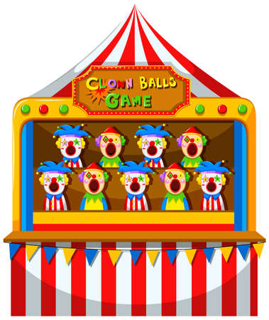 amusement park rides: Clown ball game at the circus illustration