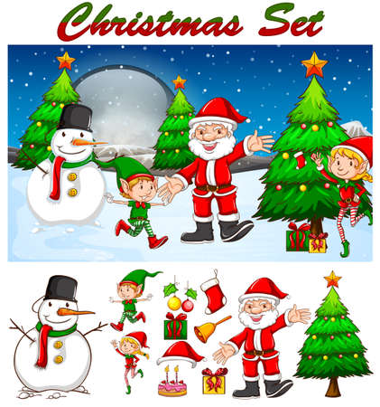 snowman background: Christmas theme with Santa and snowman illustration Illustration