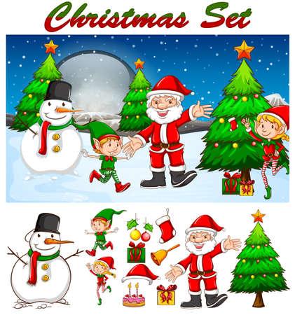 bonhomme de neige: Th�me de No�l avec le P�re No�l et bonhomme de neige illustration