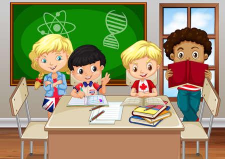 children studying: Children studying in the classroom illustration Illustration
