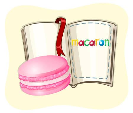 macaron: Pink macaron and a book illustration Illustration