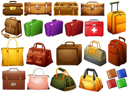 multiple image: Different kind of bags and chests illustration