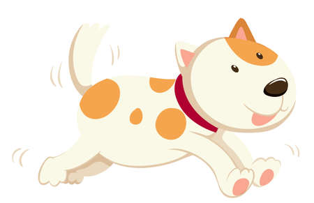 cute dogs: Cute dog running alone illustration Illustration