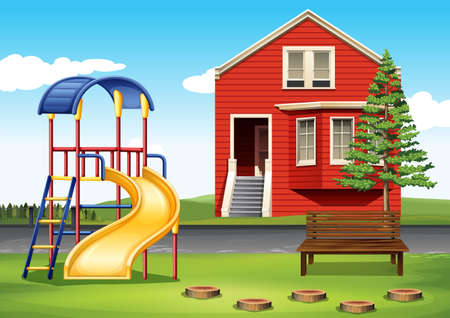 land slide: Playground in front of the house illustration