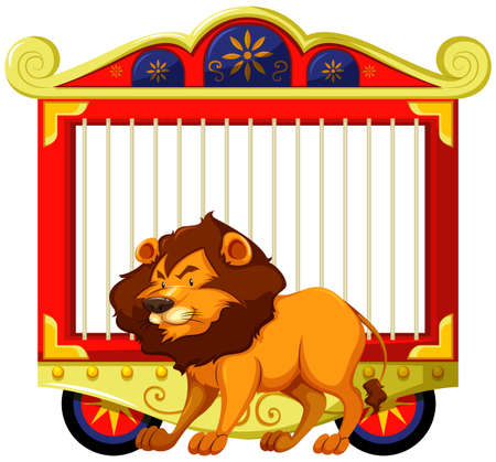 wild living: Lion and carnival cage illustration