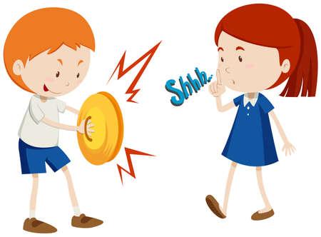 Junge spielt Musik und Mädchen unglücklich Illustration
