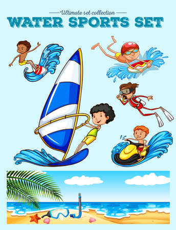 ifestyle: Different kind of water sports illustration