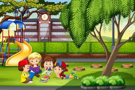 escuela caricatura: Los niños que trabajan en la ilustración parque