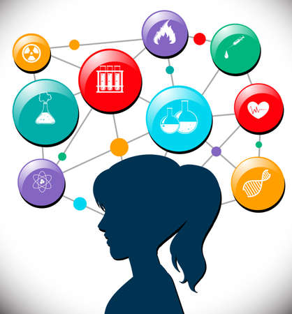 science education: Woman with science icons diagram illustration