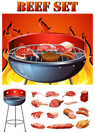 raw beef: Different kind of meat on the grill illustration Illustration