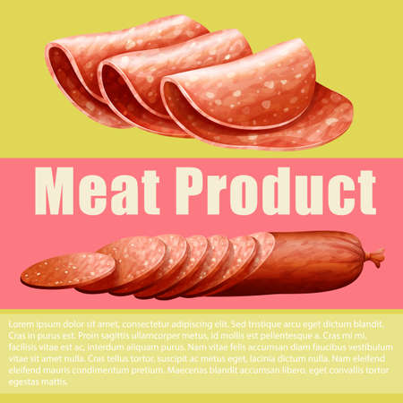 cold cuts: Meat product and sign illustration Illustration