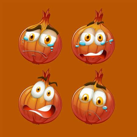 cara triste: Cebolla con cara triste ilustración Vectores