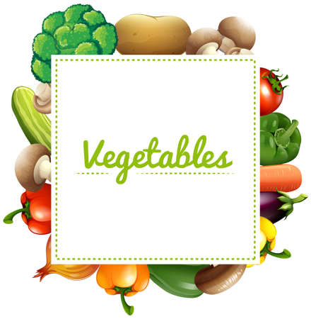 organic peppers sign: Variouse type of vegetables illustration