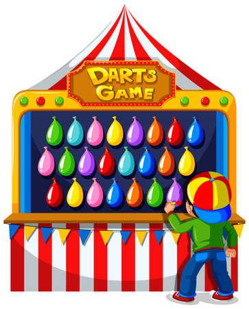 Boy playing darts game at carnival illustration