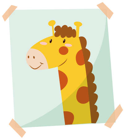 posted: Giraffe phot on the wall illustration