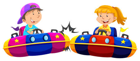 objects: Boy and girl playing bump cars illustration