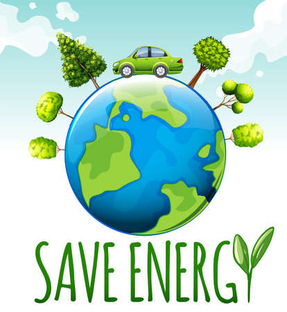on air sign: Save energy theme with car and trees illustration