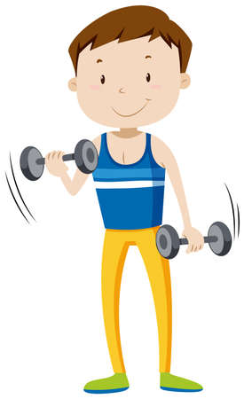 man working out: Strong man lifting weights illustration Illustration