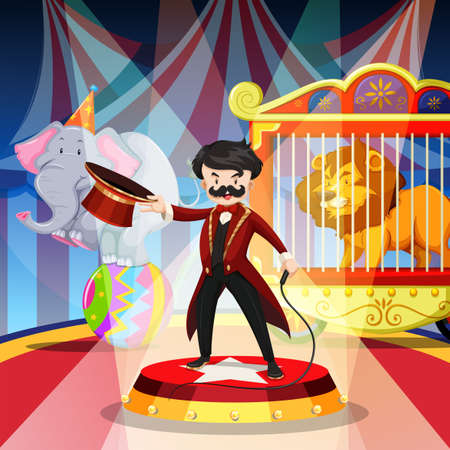 show ring: Ring master and animal show illustration