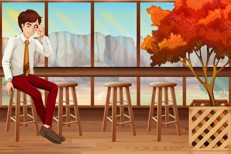 coffee background: Man sitting in the restaurant illustration