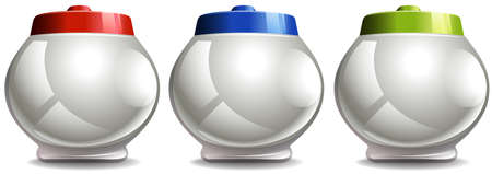 lids: Round jar with lids in three colors illustration Illustration