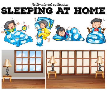 cartoon child: Boys and girls sleeping in bed illustration Illustration