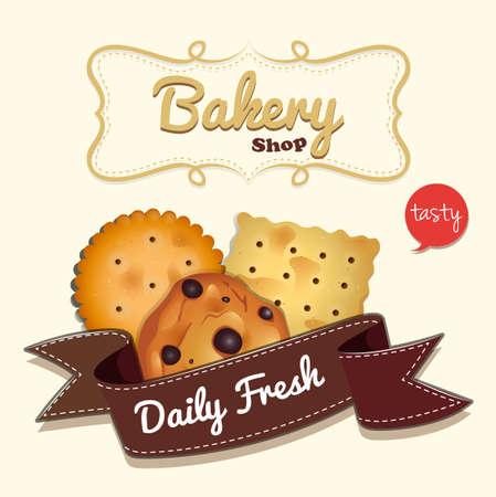 fastfood: thiết kế Logo với cookie và minh hoạ văn bản