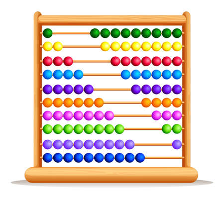 wooden frame: Colorful abacus with wooden frame illustration