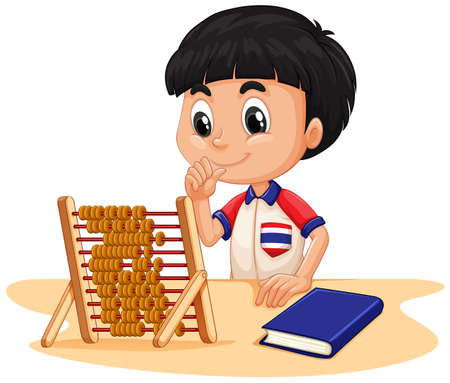 calculating: Boy calculating with abacus illustration Illustration