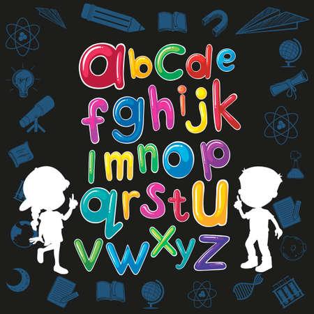 children education: Children and English alphabet illustration