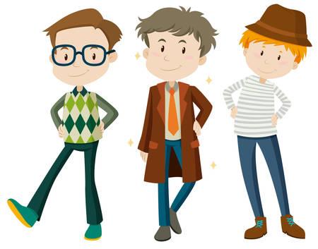 overcoat: Men in different poses illustration Illustration