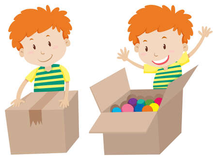sealed: Boy with box sealed and opened illustration Illustration