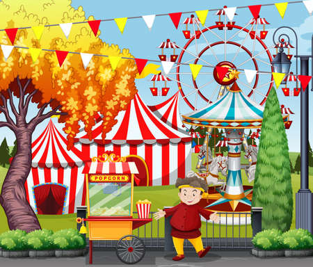 amusement park rides: Man selling popcorn at the amusement park illustration
