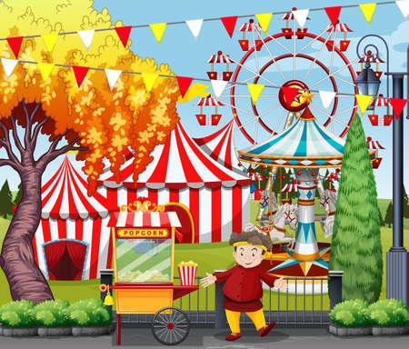 Man selling popcorn at the amusement park illustration