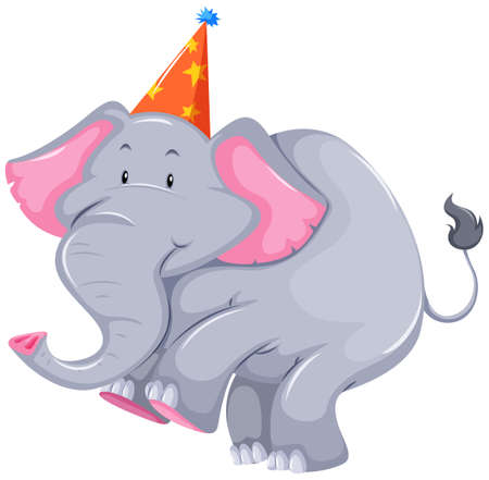 party cartoon: Gray elephant with party hat illustration Illustration