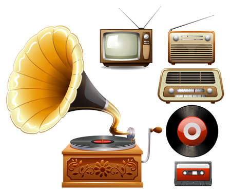 tv set: Electricity devices in old time illustration