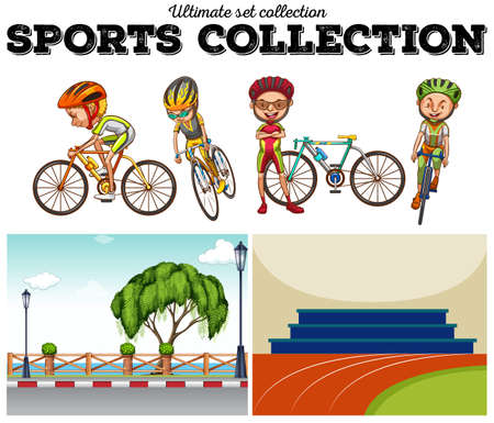 bicycle lane: Bikers with bicycle and racing scenes illustration