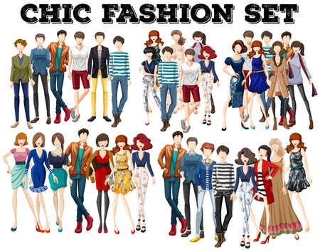 fashion design: Woman and man in fashion illustration