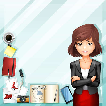 office worker: Office worker and stationaries illustration Illustration