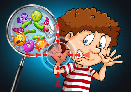 bacterias: Las bacterias en la ilustración de la mano del hombre Vectores