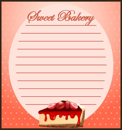 fruit cake: Line paper with strawberry cheesecake illustration