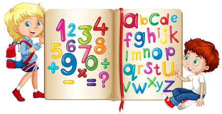 Boy and girl by book of numbers and alphabets illustration