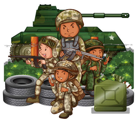 Soldiers with guns in the field illustration